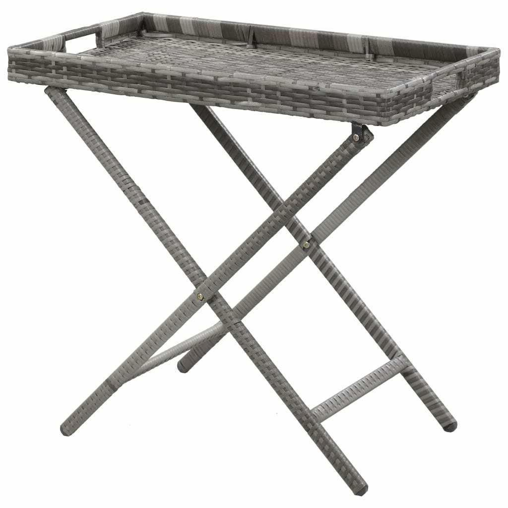table pliable gris resine tressee table d