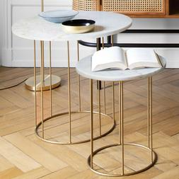 Lot de 2 tables a cafe Marbre Atmosphera
