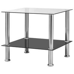 vidaXL Table d'Appoint Verre Trempé Table Basse Canapé Sal